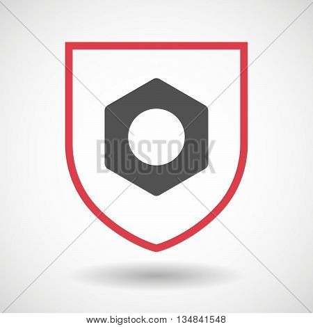 Isolated Line Art Shield Icon With A Nut