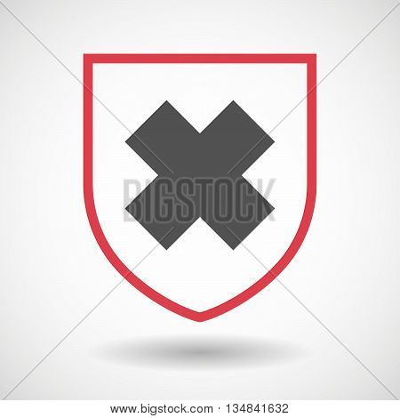 Isolated Line Art Shield Icon With An Irritating Substance Sign