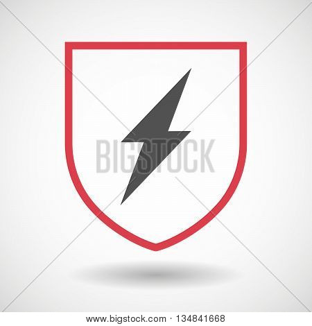 Isolated Line Art Shield Icon With A Lightning