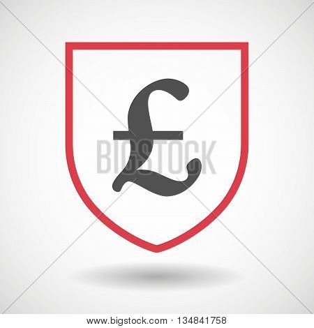 Isolated Line Art Shield Icon With A Pound Sign