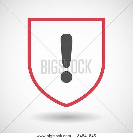 Isolated Line Art Shield Icon With An Exclamarion Sign