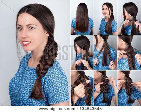 Hair tutorial. Hairstyle braid tutorial. Backstage technique of weaving plait. Hairstyle. Tutorial