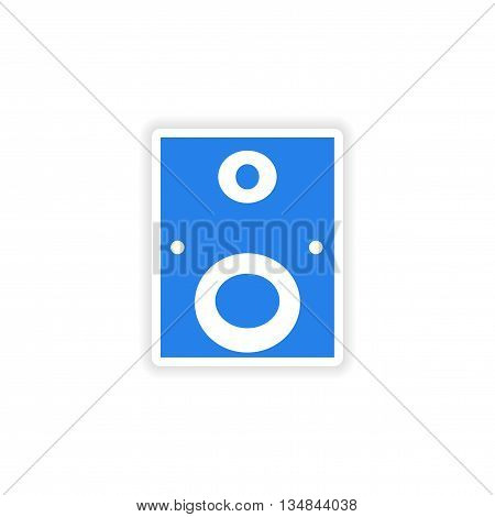 icon sticker realistic design on paper subwoofer