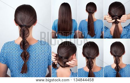 simple hairstyle twisted pony tail with scrunchy tutorial. Hairstyle tutorial for long hair. Hairstyle