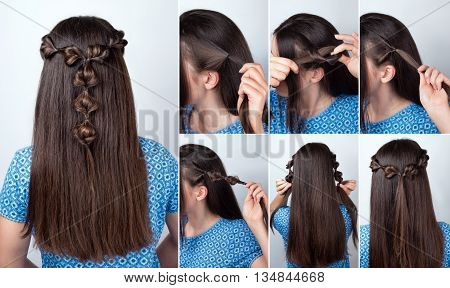 simple twisted hairstyle with scrunchy tutorial. Hairstyle tutorial for long hair. Hairstyle. Tutorial. Hair model