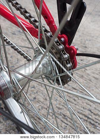 Rear hub bike on the wheel with chain
