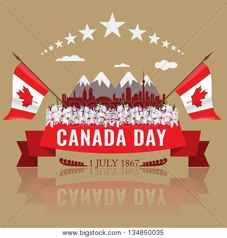 1 July Happy Canada day with Canadian waving flag silhouette of Canada and mountains. Floweres in bottom and red ribbon. Poster or Cover template design relating Canada concept