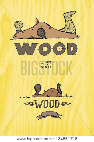 Wooden company. Colorful hand drawn vector stock illustration
