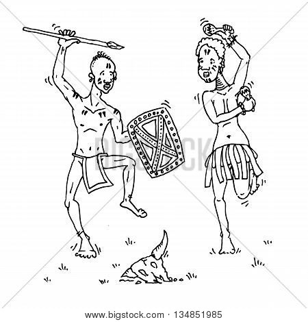 African people dancing around animal skull. Hand drawn vector stock illustraton. Coloring page image. Black and white drawing