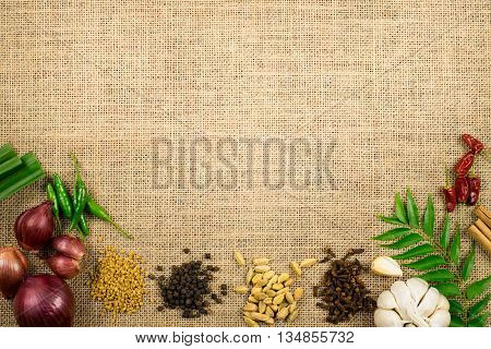 Sri Lankan spices banner background for place text frame