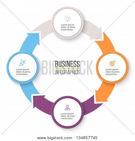 Circular arrows for infographics. Chart, graph, diagram with 4 steps, options, parts. Vector business template.