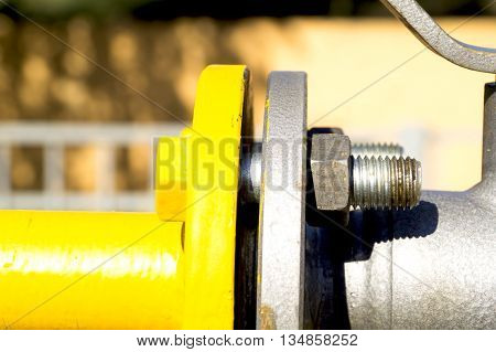 connection bolt and nut two yellow flanges