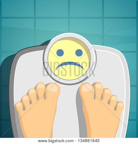 Overweight and Scales for weighing. Stock Vector cartoon illustration.