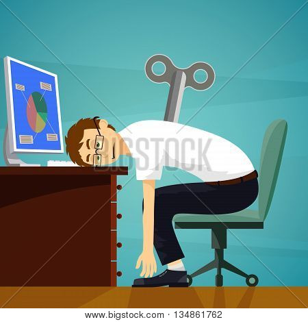 Tired worker sits at the workplace. Clockwork key. Stock Vector cartoon illustration.