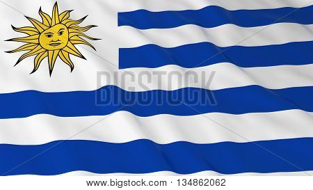 Uruguayan Flag Hd Background - Flag Of Uruguay 3D Illustration