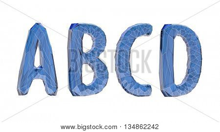 transparent crystal alphabet, A, B, C, D, 3d illustration