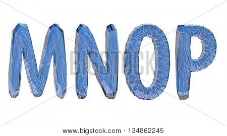 transparent crystal alphabet, M, N, O, P, 3d illustration
