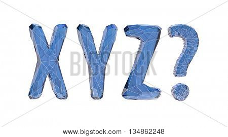 transparent crystal alphabet, X, Y, Z, 3d illustration