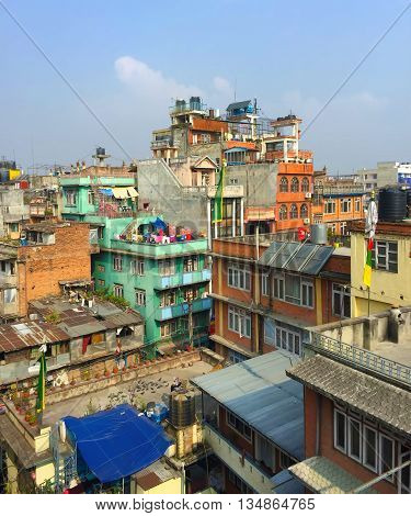India, Varanasi, - March 7, 2015: Vertical panorama of indian city rooftops, India Varanasi landscape, Benares cityscape