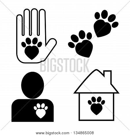 Cat adoption and care set of vector icons adopt, a cat illustration monochrome pictogram of domestic animal care and adoption protection of domestic animal, logo cat in heart