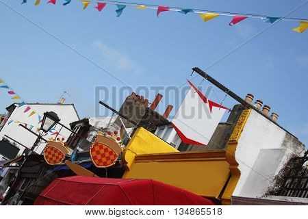 Abstract Colourfull  Brighton Street Scene with bunting West Sussex England