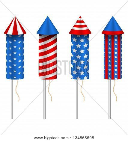 Illustration Set of Pyrotechnic Rockets, with Traditional American Design for Fourth of July and Other Holidays of USA, Group Objects Isolated on White Background - Vector