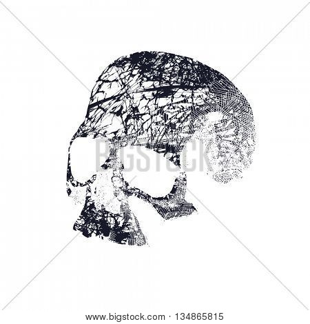 Black and white human skull. Hand drawn Jpeg version