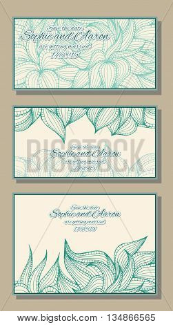 Abstract hand-drawn card with dense vegetation. Can be used for the greeting card or invitation. Vector illustration