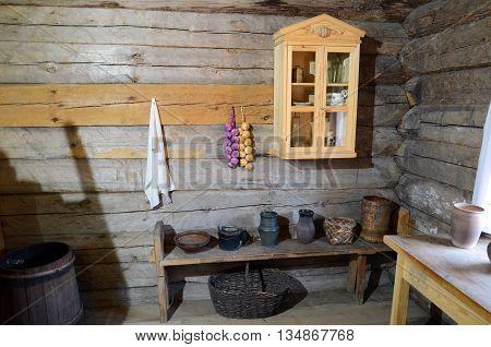 Irkutsk region Russia - May 10 2015: Interior of the Russian peasant hut in Taltsy exhibition