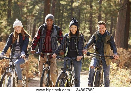 Group of four friends on bikes in a forest looking to camera