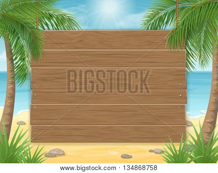 Empty wooden sign on tropical beach with palm tree. Vector tropical background for the menu or advertisement.