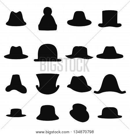 Collection of retro hats silhouette. Top hat isolated on white. Vector illustration eps 10