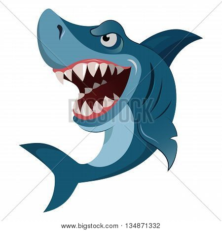 Hungry angry cartoon great white shark wiith big teeth isolated. Vector illustration eps 10