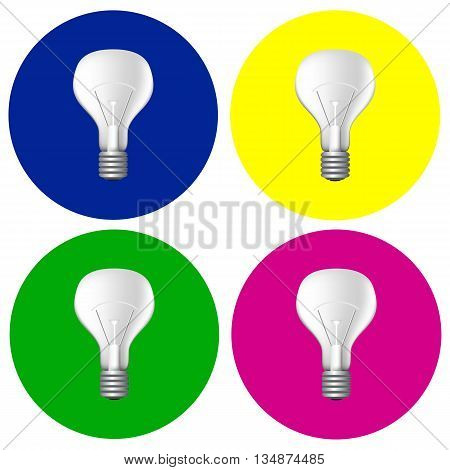 Realistic bulbs set vector illustration, light bulb pop art illustration, realistic light bulb pattern, filament bulb picture, light bulb icon, colorful design with light bulbs, set of light bulb pics