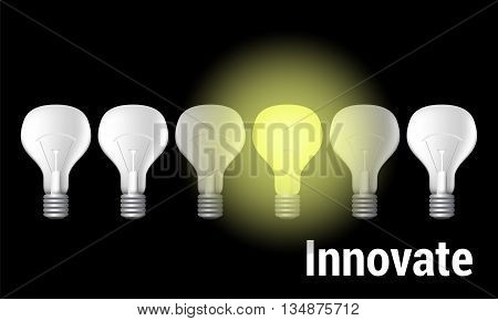 Innovate vector illustration on black, minimal background or template for competitive advantage or innovation power to change, motivation to innovate conceptual image, picture of filament bulb light