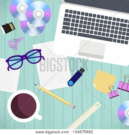 Top view of office workplace and accessories on wood table. Vector illustration in flat style design. Business work flow concept, laptop, coffee, documents.