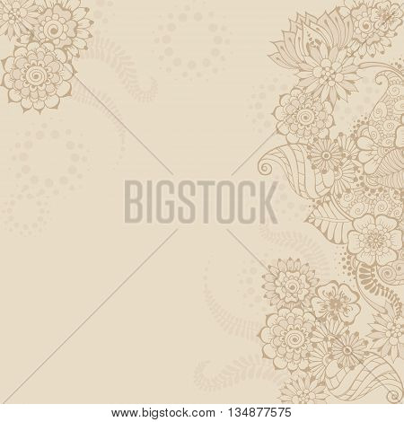 Ornate vector card template in Indian mehndi style. Hand drawn abstract background in beige colors. Floral ornament for invitation cards with mehndi elements. Islam arabic indian ottoman motifs.