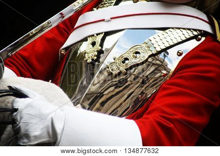 Lifeguard Trooper of The Household Cavalry on Parade in  London england