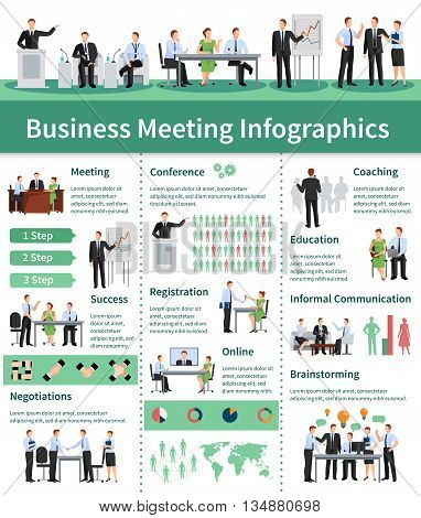 Business Meeting Infographic Set.Business Meeting  Information. Business Conference Flat Set. Business Meeting Vector Illustration.