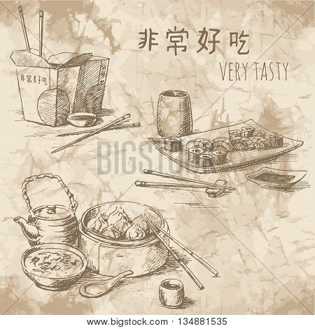 Freehand drawing on the old paper. Sketches of Chinese food: tea ceremony take away food and sushi set. Vintage style of food design.