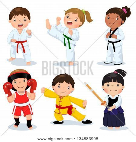 Set of martial arts kids. Children fighting judo taekwondo karate kung fu boxing kendo