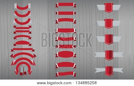New vector set of RED RIBBON, BANNER AND TAGS collection. Tricolor, flat color style. Long and short ribbon banners. Additional price tags collection with wood interior background