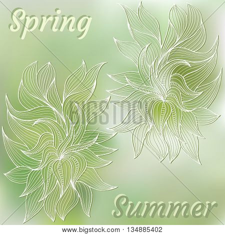 Abstract hand-drawn card with vegetation. Can be used for the greeting card or invitation. Vector illustration