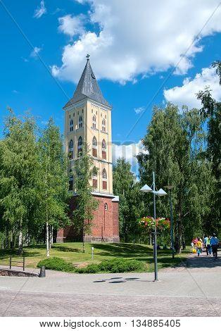 LAPPEENRANTA, FINLAND - JUNE 15, 2016: Belfry of the Saint Mary Church on Kauppakatu Street. Was built in 1856 by architect Ernst B. Lohrmann
