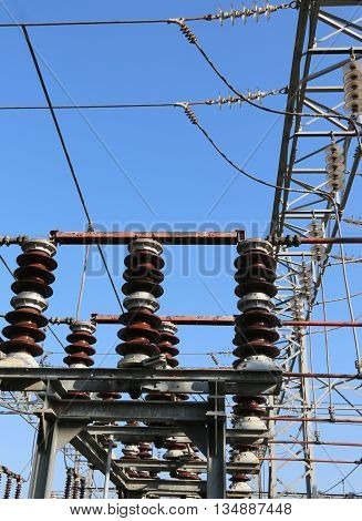Disconnectors In The Air In A System Of Electric Power Substation