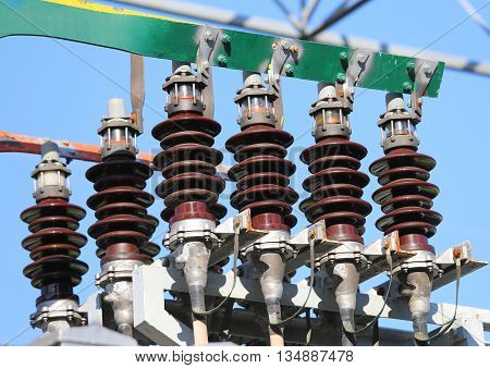 Big Copper Busbar With High-voltage Cables In An Electric Power Plant