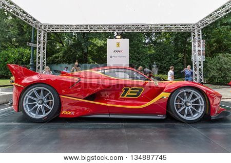 TURIN, ITALY - JUNE 13, 2015: Lateral view of a Ferrari FXX K on display at Turin open air car show