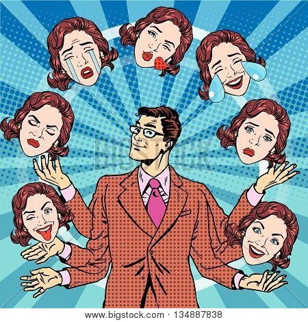 Retro man juggles the emotions of women pop art retro vector. Joy, sadness, tears, fun