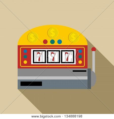 Slot machine with lucky seven icon in flat style with long shadow