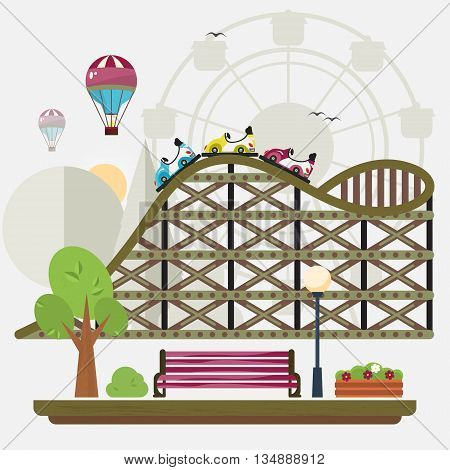 Vector flat illustration of entertainment show. City cartoon park .